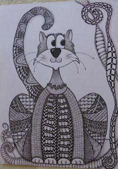 Tangled Cat drawn by Helen Brown Mandala Doodle, Tangle Doodle, Tangle Art, Zen Doodle, Easy Doodles Drawings, Zentangle Drawings, Doodles Zentangles, Zentangle Patterns, Doddle Art