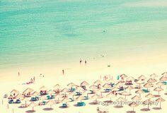 Beach photography, beach people photo, beach art, ocean print, aqua, beach fine art print, beach umbrellas, Portugal, wall decor, home decor by