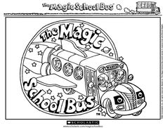 Magic school bus coloring page Ethans Birthday Pinterest