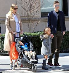Heavily-pregnant Ivanka Trump was seen walking to synagogue in New York City on Saturday with her husband, Jared Kushner, and their kids