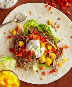 Make jerk pork wraps with homemade lime mayo using your crockpot! This simple recipe uses only 30 minutes of prep time and a few hours in your slow cooker to make a yummy dinner dish with leftovers for lunch to spare! Bhg Recipes, Easy Chicken Recipes, Pork Recipes, Cooking Recipes, Citrus Recipes, Wrap Recipes, Spicy Recipes, Copycat Recipes, Cooking Tips