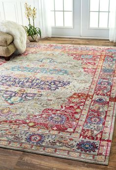 NuLOOM Fancy Medallion Renato Rug Red
