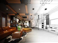 sketch design of living ,3dwire frame render