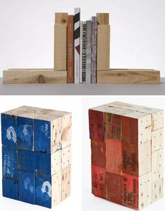 Pallet bookends. Diy Pallet Projects, Woodworking Projects, Bookshelves, Bookshelf Diy, Cargo Container, Wooden Books, Wooden Pallets, Pallet Furniture, Creative Design