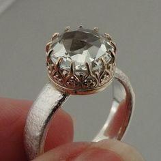 Fabulous Israel Art Gold Silver Green Amethyst Ring 7 I by jewela, $142.50