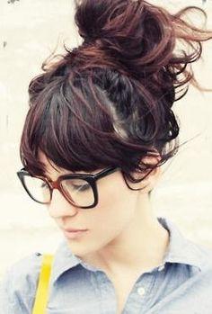 messy bun + bangs http://pinterest.com/NiceHairstyles/hairstyles/