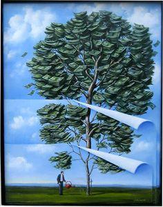 Moneytree, by Rafał Olbiński (Polish)