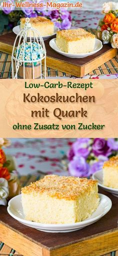 Einfaches, schneller Kokoskuchen mit Quark: Low-Carb-Rezept für einen saftigen Kokos-Quarkkuchen ohne Zucker - verfeinert mit Kokosmilch ein gesunder, kohlenhydratarmer Kuchen #kokskuchen #lowcarbrezepte