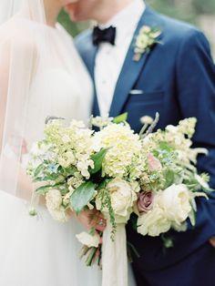 Elegant neutral-toned bridal bouquet. #hydrangea #roses