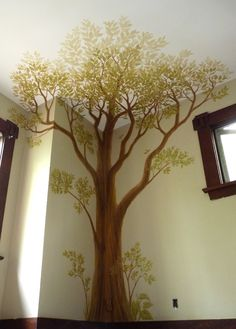 Innovative Mural Artist Designer Kim Hunter Mural Artist Vancouver Bc, Collection Painting A Tree Mural Tree Wall Painting, Tree Wall Murals, Mural Wall Art, Tree Wall Art, Mural Painting, Painting For Kids, Tree Mural Kids, Playroom Mural, Bedroom Murals