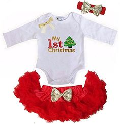 Kirei Sui Baby Gold Bow Red Pettiskirt 1st Christmas Tree Bodysuit Headband Medium Red -- Click on the image for additional details.