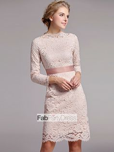 Kate Middleton Sheath / Column Scoop Belt 3/4-Length Short / Mini Lace Cocktail Dresses / Homecoming Dresses - FabPartyDress.com