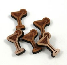 8 Pieces. Martini Charms -Mixed Laser Cut Wood -Earring Supplies- Laser Cut Supplies- Little Laser Lab Sustainable Wood Products   littlelaserlab.com