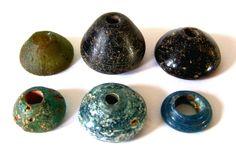 Roman Glass Spindle Whorls, 100 AD - 300 AD; 1.5 - 2.5 cm.