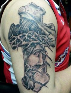 What does jesus tattoo mean? We have jesus tattoo ideas, designs, symbolism and we explain the meaning behind the tattoo. Tattoos Arm Mann, Arm Tattoos For Guys, Body Art Tattoos, Sleeve Tattoos, 3d Tattoos, Tatoos, Native Tattoos, Warrior Tattoos, Holy Tattoos