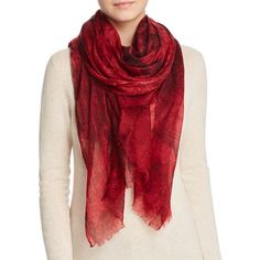 Meesha Astrology Print Scarf ($205) ❤ liked on Polyvore featuring accessories, scarves, red, red shawl, red scarves, print scarves and patterned scarves