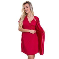 c605991c6 Camisola Amamentação Com Robe Estilo Sedutor de Luxo em Liganete Vermelha