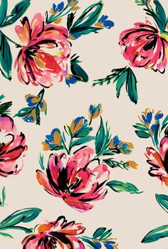 love this painterly flower pattern