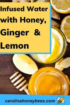 Learn how to make delicious infused water. You can make this all natural soothing tonic to ease the discomfort of coughs or colds. Infused honey with lemon and ginger. Honey Uses, Honey Works, Pure Honey, Raw Honey, Raw Ginger, Fresh Ginger, Eating Raw, Healthy Eating, Cooking With Honey