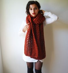 The Runaway Scarf Hand Knit in Autumn Spice Wool by RememberADay, $90.00