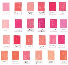 Boddington Pinks Color Names