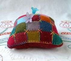 I ❤ pincushions . . . Square Patches of Felted Wool ~By Jill Verbick,   Fiberluscious