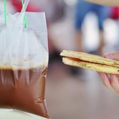 Takeaway breakfast in Singapore? Hot sweet coffee in a bag and crunchy toast slathered with buttered and kaya jam