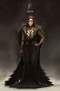 ArtStation - Kaichen Yan's submission on Ancient Civilizations: Lost & Found - Character Design Freya Odin Norse Mythology, Norse Goddess, Norse Pagan, Old Norse, Thor Norse, Nordic Goddesses, Gods And Goddesses, Medieval Combat, Symbole Viking