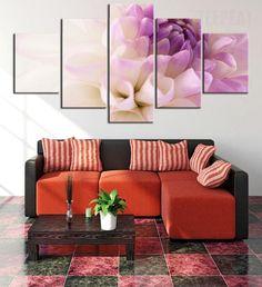 Purple Flowers Cuadros - 5 Piece Canvas Painting