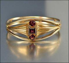 Antique Art Nouveau Simmons Amethyst Bangle Bracelet