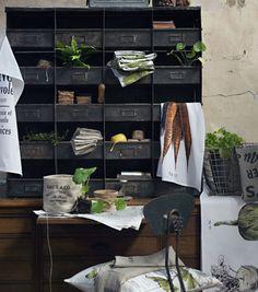 Hans Blomquist HM Home Collection Vintage Industrial Decor, Industrial Living, Industrial Chic, Industrial Storage, Industrial Farmhouse, Industrial Revolution, Hm Home, Drawer Shelves, Metal Shelves