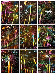 Plastiquem fireworks scratch art for New Year's Eve ideas for kids