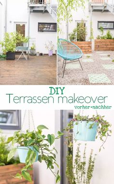 DIY inspiration for a terrace makeover in shadow location with before-after pictures and self-made DIY upcycling planters Source by iramoeller Sandstone Wall, Diy Terrasse, Garden Balls, Makeover Before And After, Diy Inspiration, Large Planters, Modern Backyard, Evergreen Shrubs, Backyard Makeover