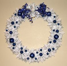 Christmas Snowflake Wreath Silver White and by GlitterGlassAndSass