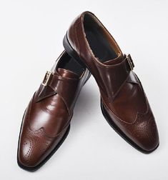 Men Brown Brogue Wingtip Single Monk Genuine Handmade Leather Shoes sold by Lajuria. Shop more products from Lajuria on Storenvy, the home of independent small businesses all over the world. Brown Brogues, Brown Leather Shoes, Handmade Leather Shoes, Leather Sneakers, Leather Men, Leather Wallet, Custom Design Shoes, Sneaker Boots, Dress Shoes