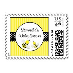 Bumble Bee Striped Polka Dots Baby Shower Stamps