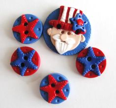 Button Uncle Sam handmade polymer clay buttons  5