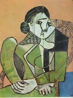 pablo picasso woman sitting in a armchair art figuratif cubisme Pablo Picasso Cubism, Kunst Picasso, Pablo Picasso Artwork, Pablo Picasso Quotes, Art Picasso, Picasso Drawing, Picasso Paintings, Abstract Paintings, Paulo Picasso