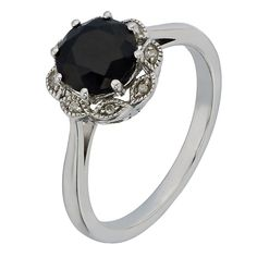 Silver Sapphire & Diamond Flower Cluster Ring - Product number 2198185