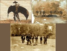 Some old photographs of pterodactyls, flying creatures that, according to science, disappeared 150 million years ago. Here we see them portrayed as hunting trophies.