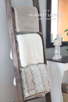 Learn how to make a DIY Blanket Ladder! This step-by-step tutorial shows how to build a ladder that can store your blankets neatly and save a ton of space! LoveGrowsWild.com