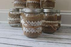 Burlap and Lace Mason Jar Centerpiece Rustic by JacquelynVaccaro