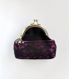 Black and purple coin purse, Black coin purse, gothic fabric pouch, violet…