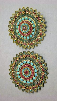 Tibet | Rosette; gold with precious stones | 17th - 19th century