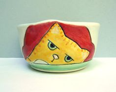 Ceramic Cat Bowl, Small Red and Orange Bowl with Surly Kitty, Small Cereal Bowl or Dessert Bowl with Orange Cat, Animal Pottery