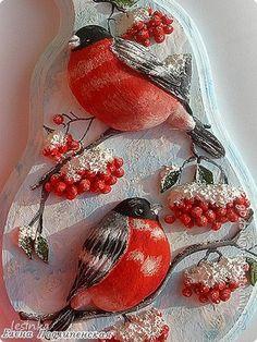 Картина панно рисунок Лепка Ярко-красные птички Тесто соленое фото 2
