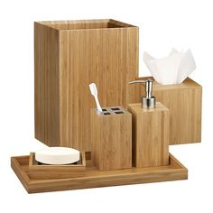 Simple accessories like bamboo ones from Crate&Barrel are both spa-like and eco-friendly.
