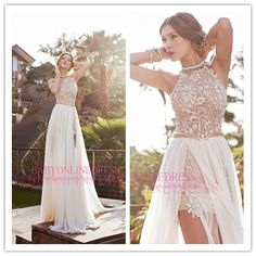 $179.89--Buy 2014 Modest Halter Backless Lace and Chiffon Beaded Sexy High Slit Top Chiffon Evening Dresses Prom Party Dress