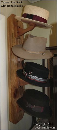 Custom Hat Rack, Shape Keeping Band Block Design, Wall Mounted Hat Storage, Aromatic Cedar Wood