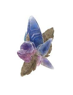 Sapphire Crystal Gemstone Mineral 5 x 7 by LaPetiteMascarade